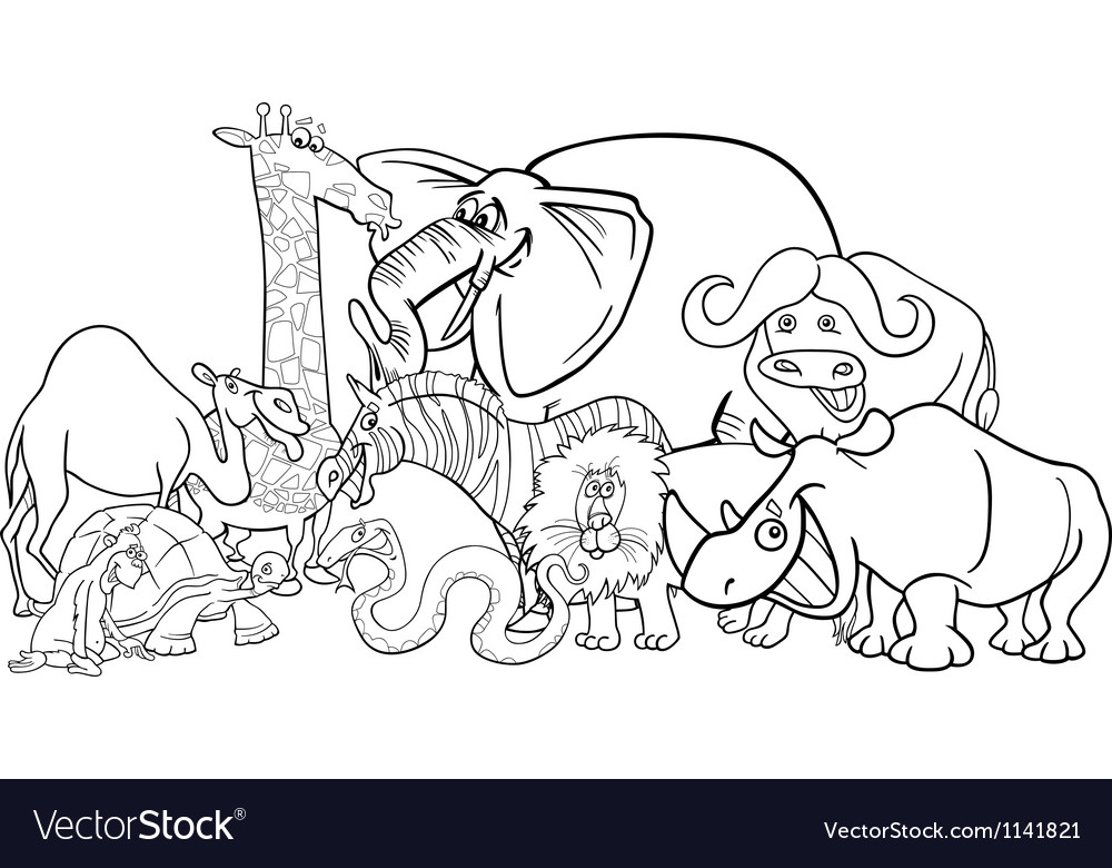 African safari animals cartoon for coloring