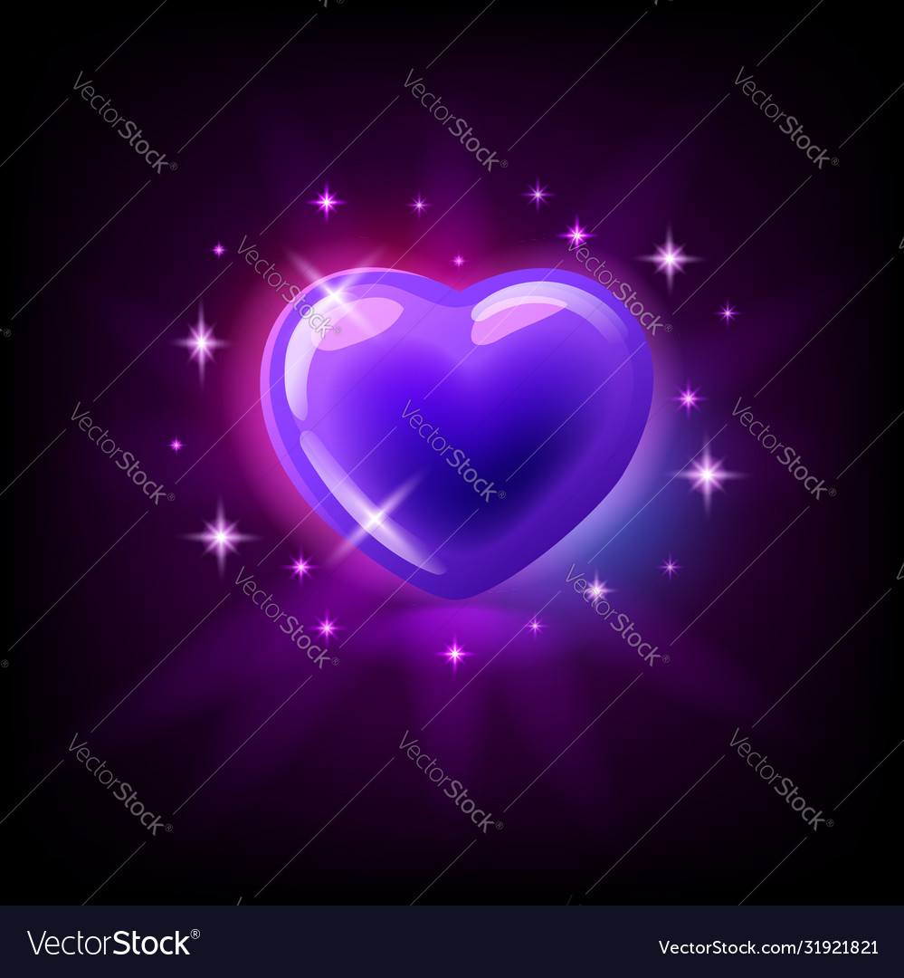 Bright purple glossy heart with sparkles slot