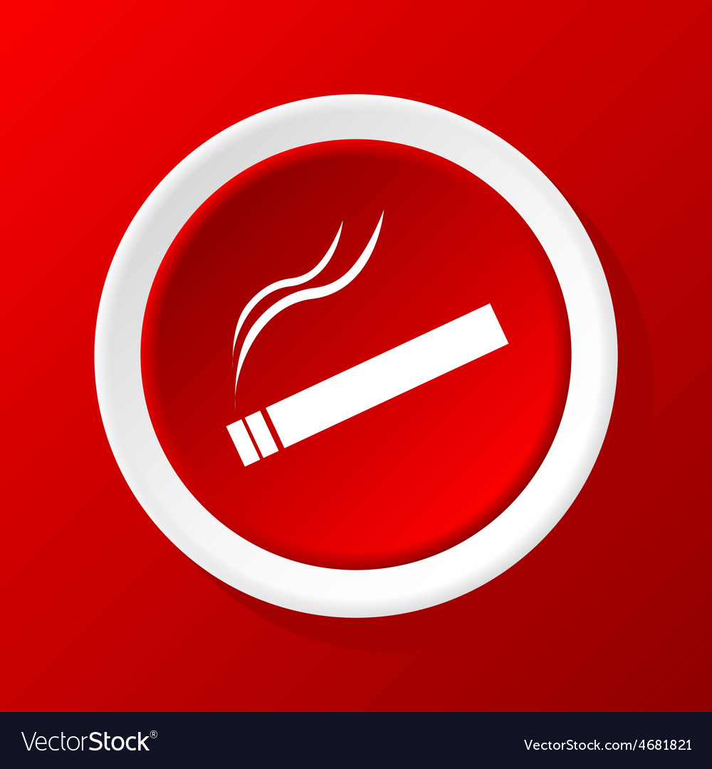 burning cigarette icon on red royalty free vector image vectorstock