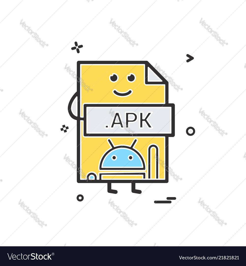 Computer apk file format type icon design vector image on VectorStock