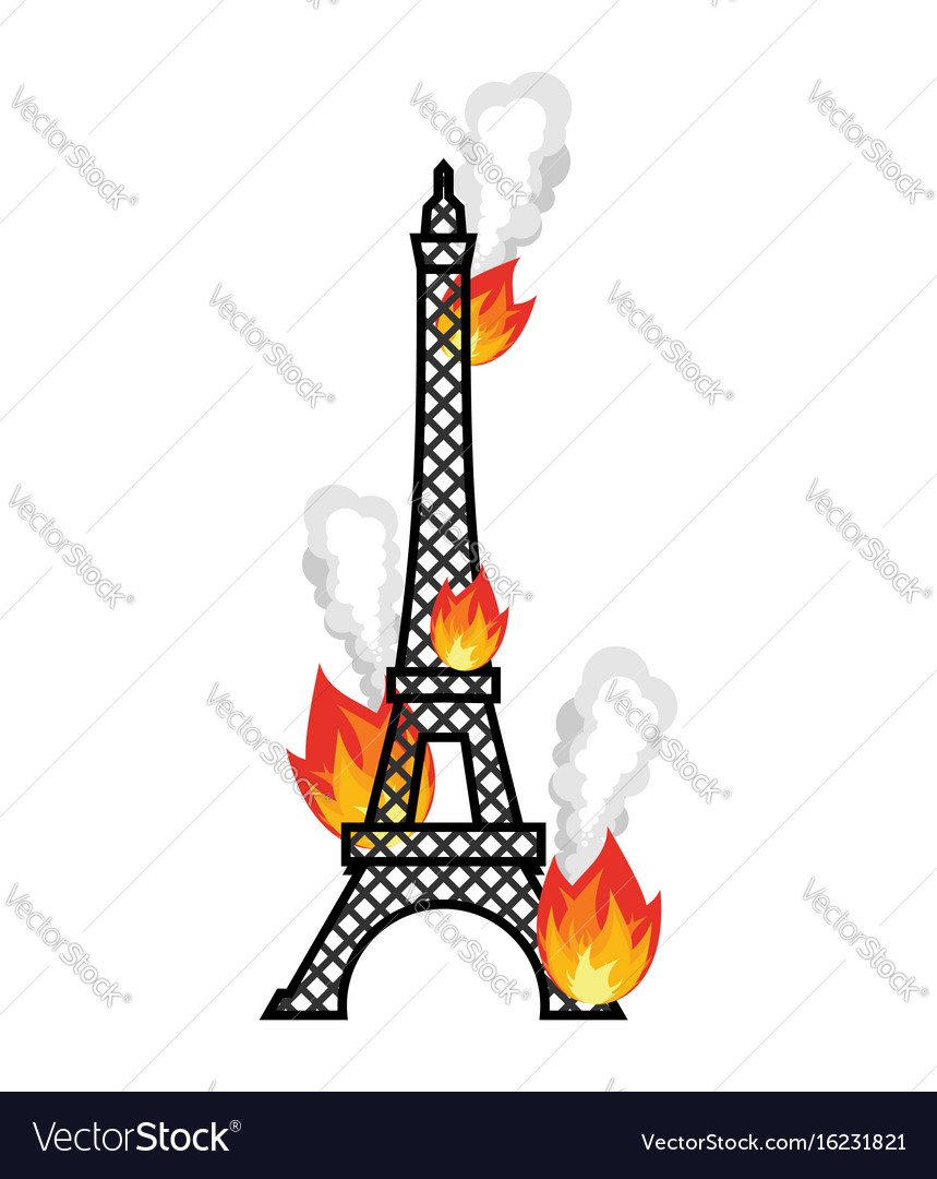 Eiffel tower fire flame in paris disaster vector image
