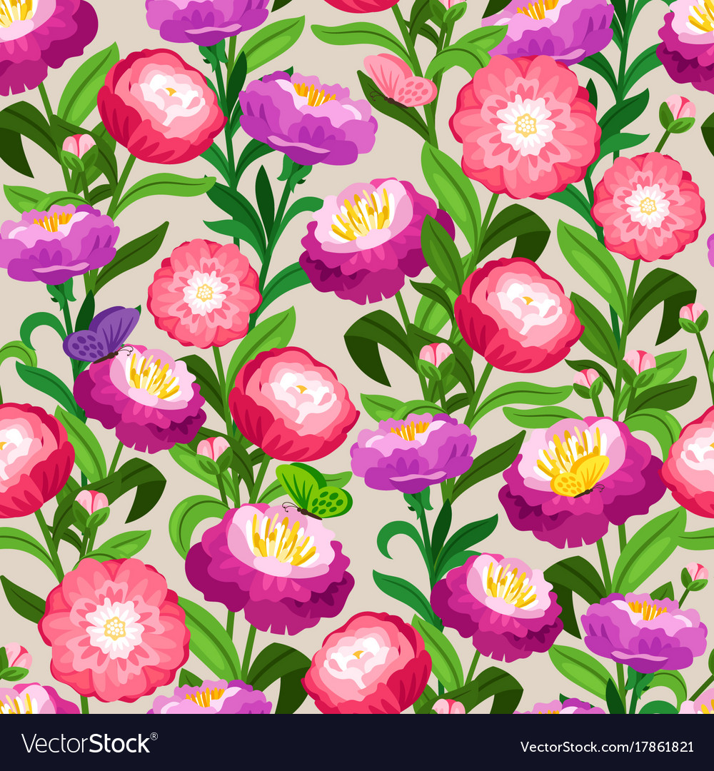Flowers seamless pattern spring floral