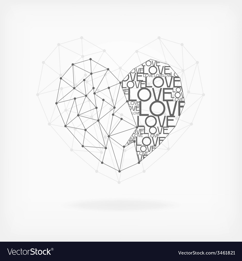 Geometric Card - Heart Shape vector image