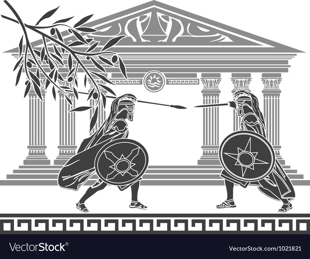Greek warriors and temple