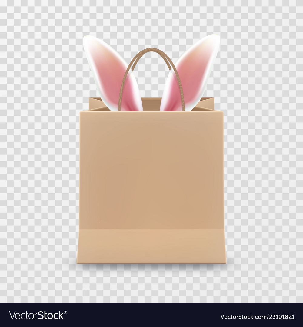 Happy easter sale realistic paper shopping bag