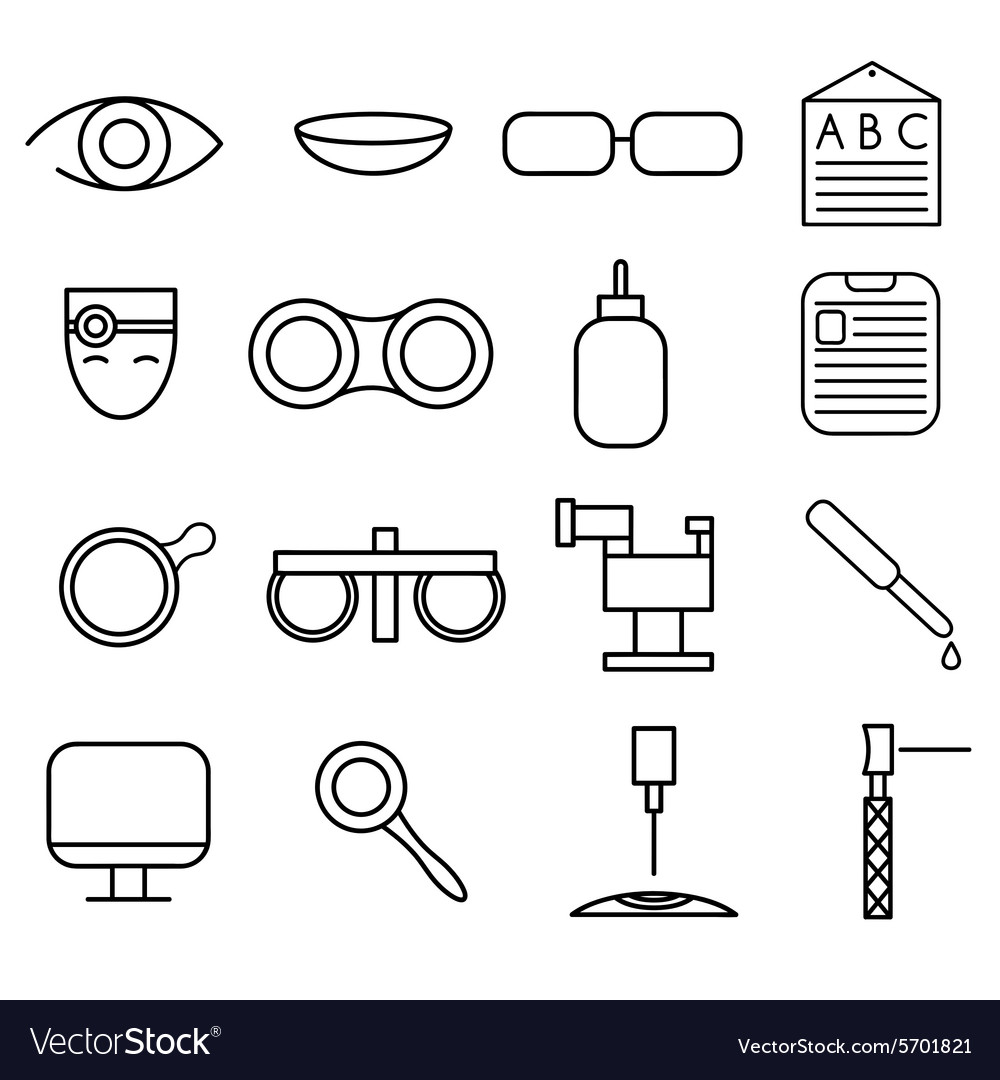 Line craft icons set of ophthalmology and