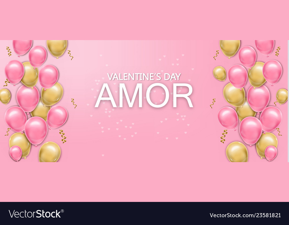 Love card with balloons realistic pink and