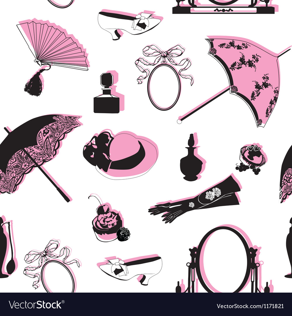 Seamless background with retro objects vector image