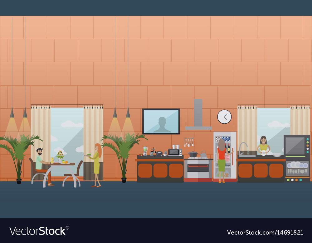Set of kitchen flat style design elements