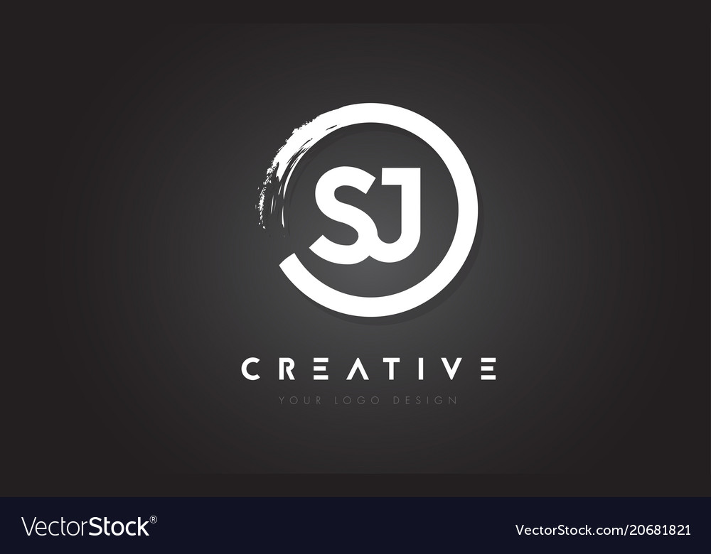 Sj circular letter logo with circle brush design
