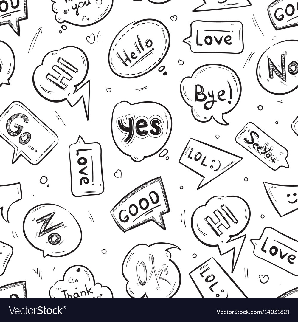 Speech bubbles with internet chat words hand drawn