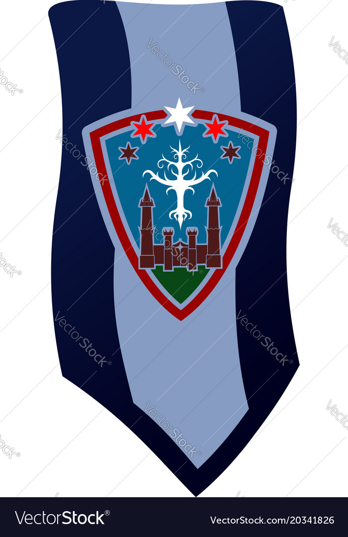 Banner with castle white tree and stars above it