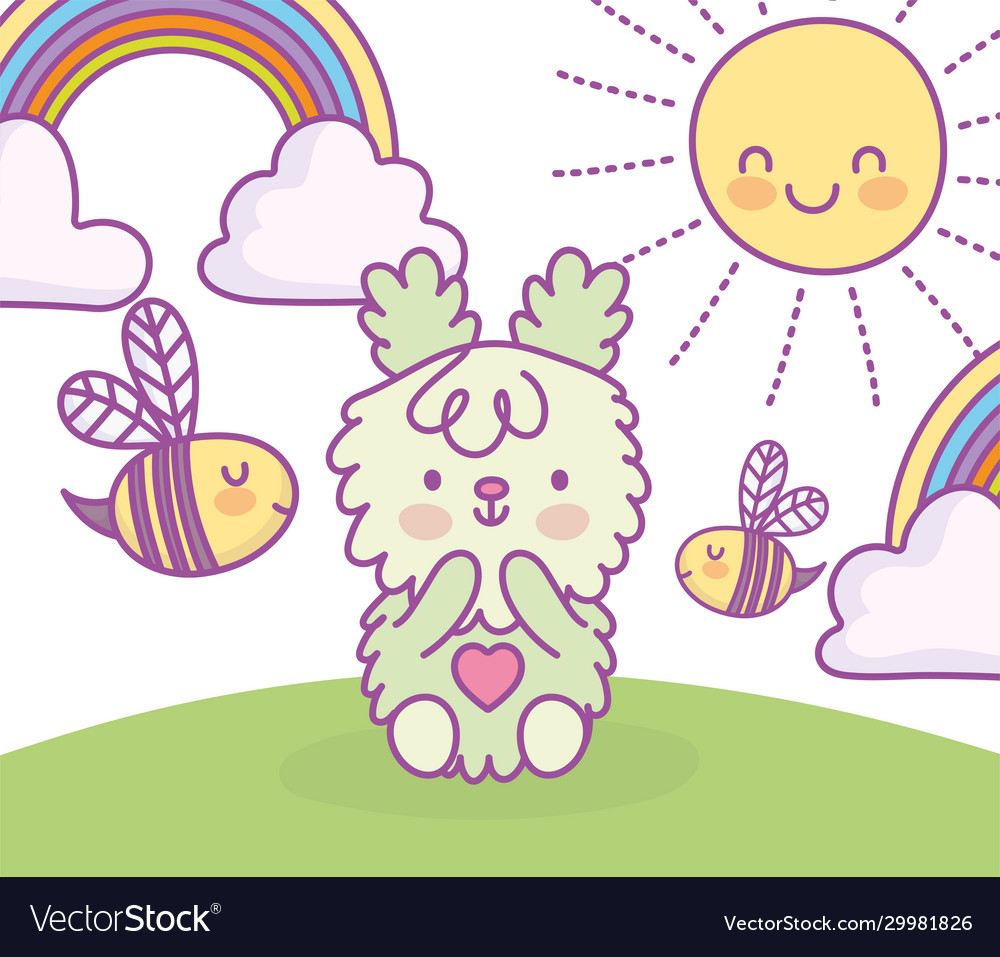 Cute bunny sitting in grass with clouds sun