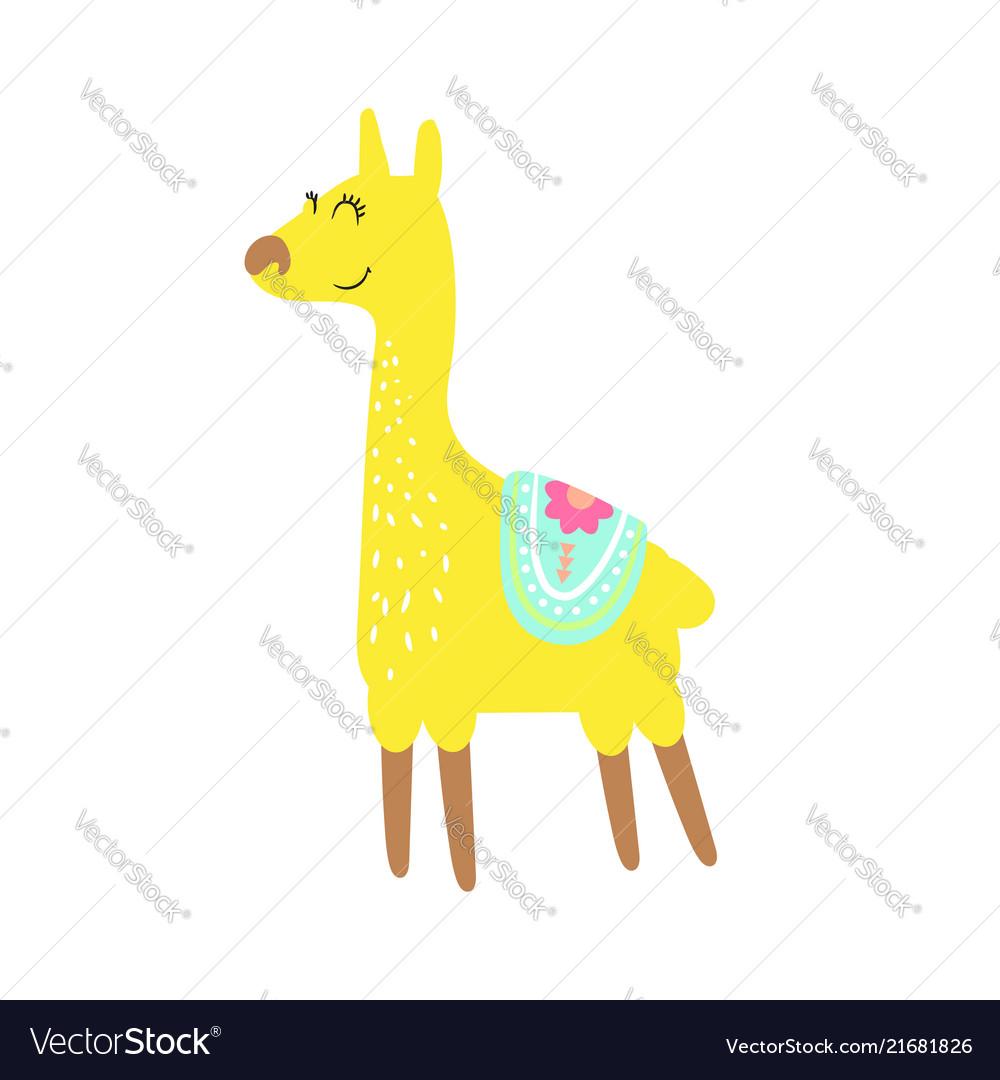 Cute childish lama animal isolated