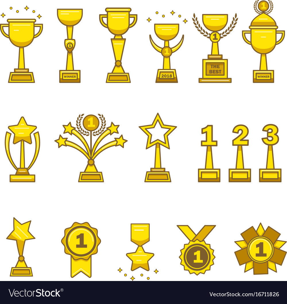 Gold awards cups medals set vector image