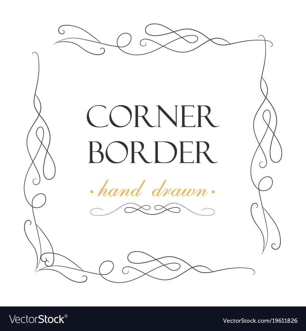 Hand drawn corner flourish text graphic design