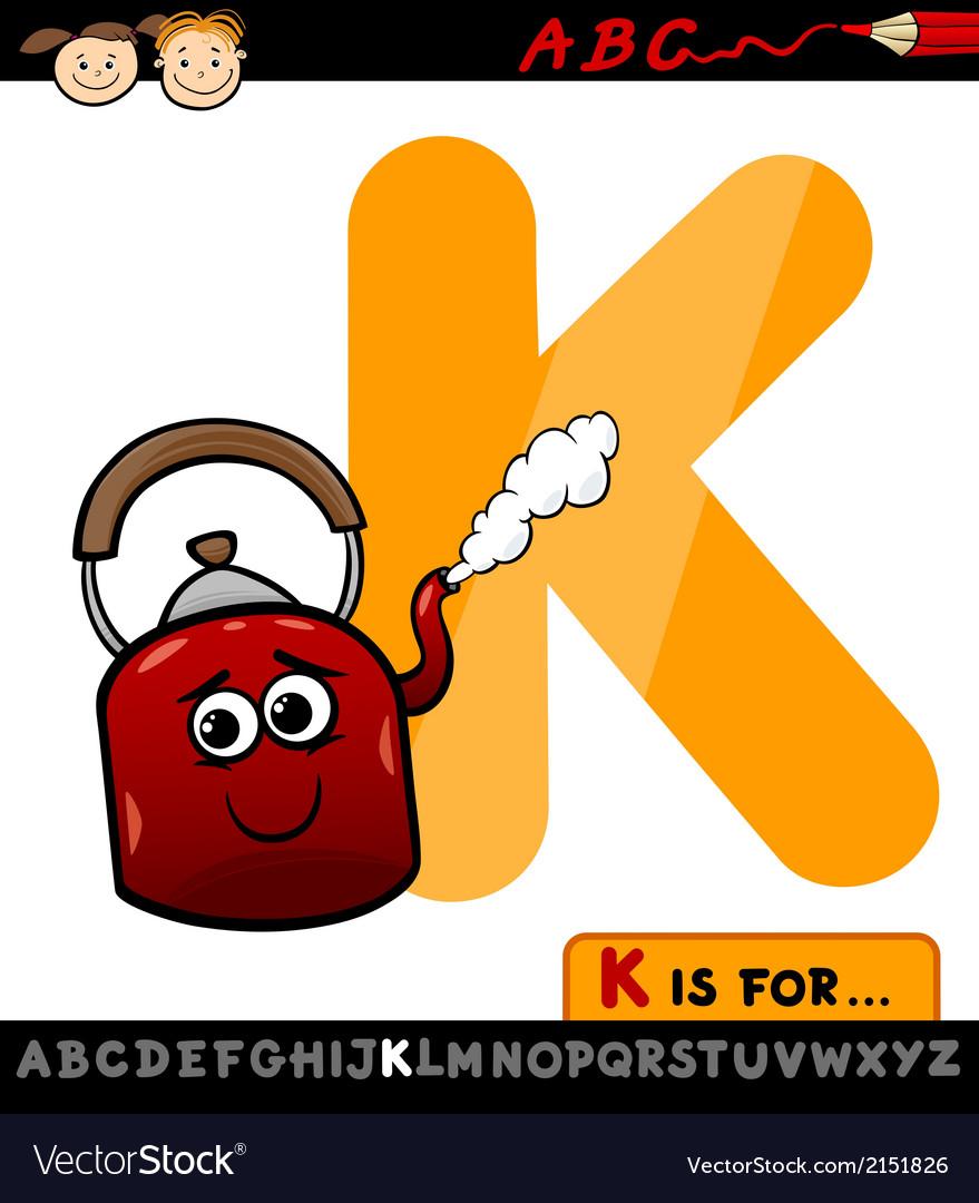 Letter k for kettle cartoon vector image