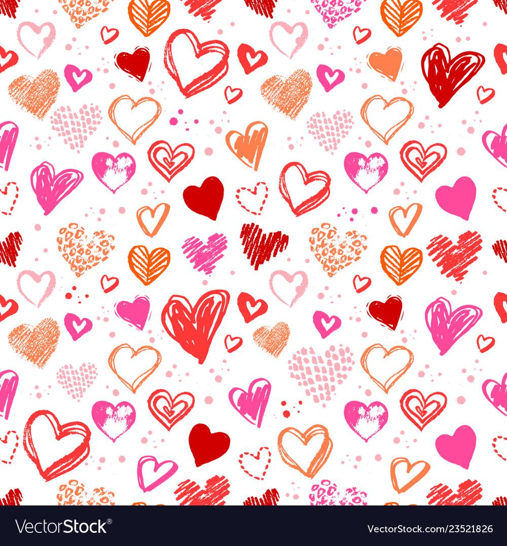 Pattern with valentine grunge hearts