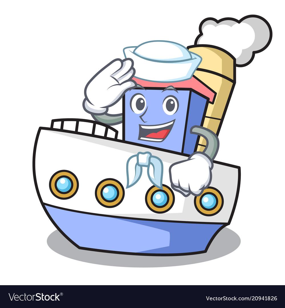 Sailor ship character cartoon style