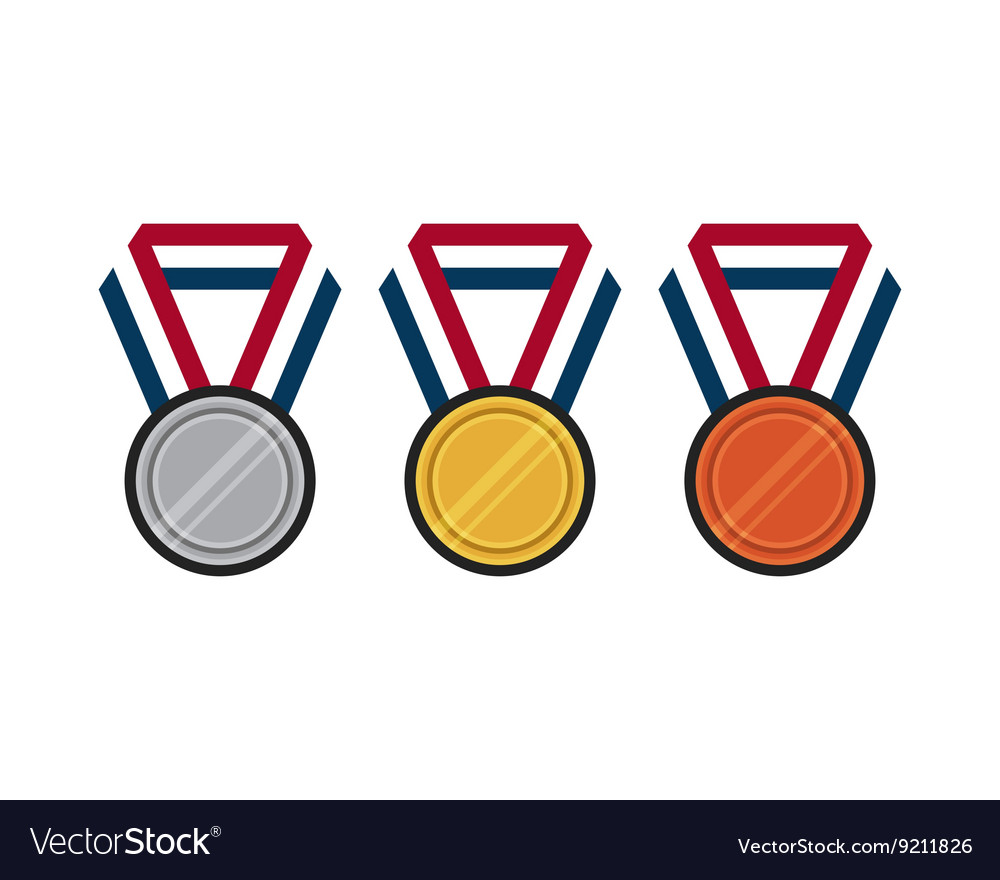 Set of gold silver bronze medal flat design