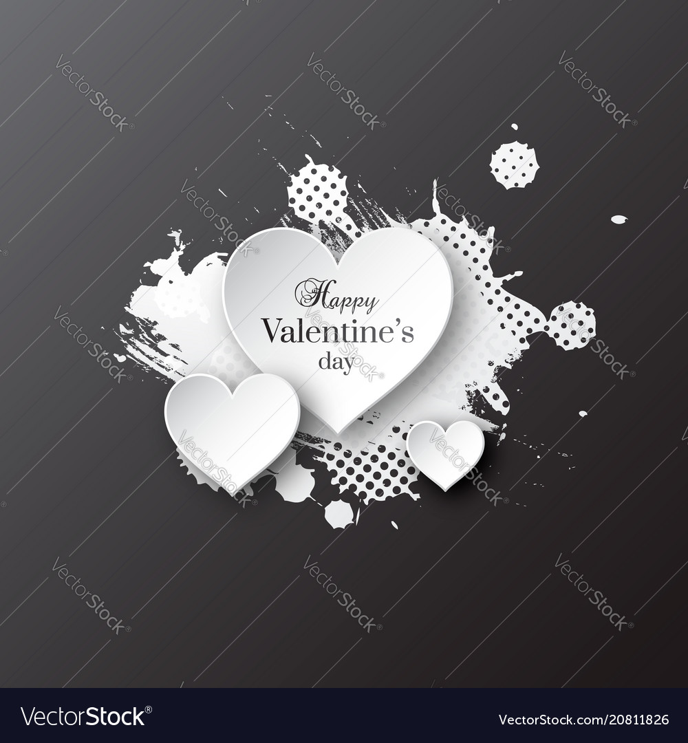 Valentines day background with paper hearts