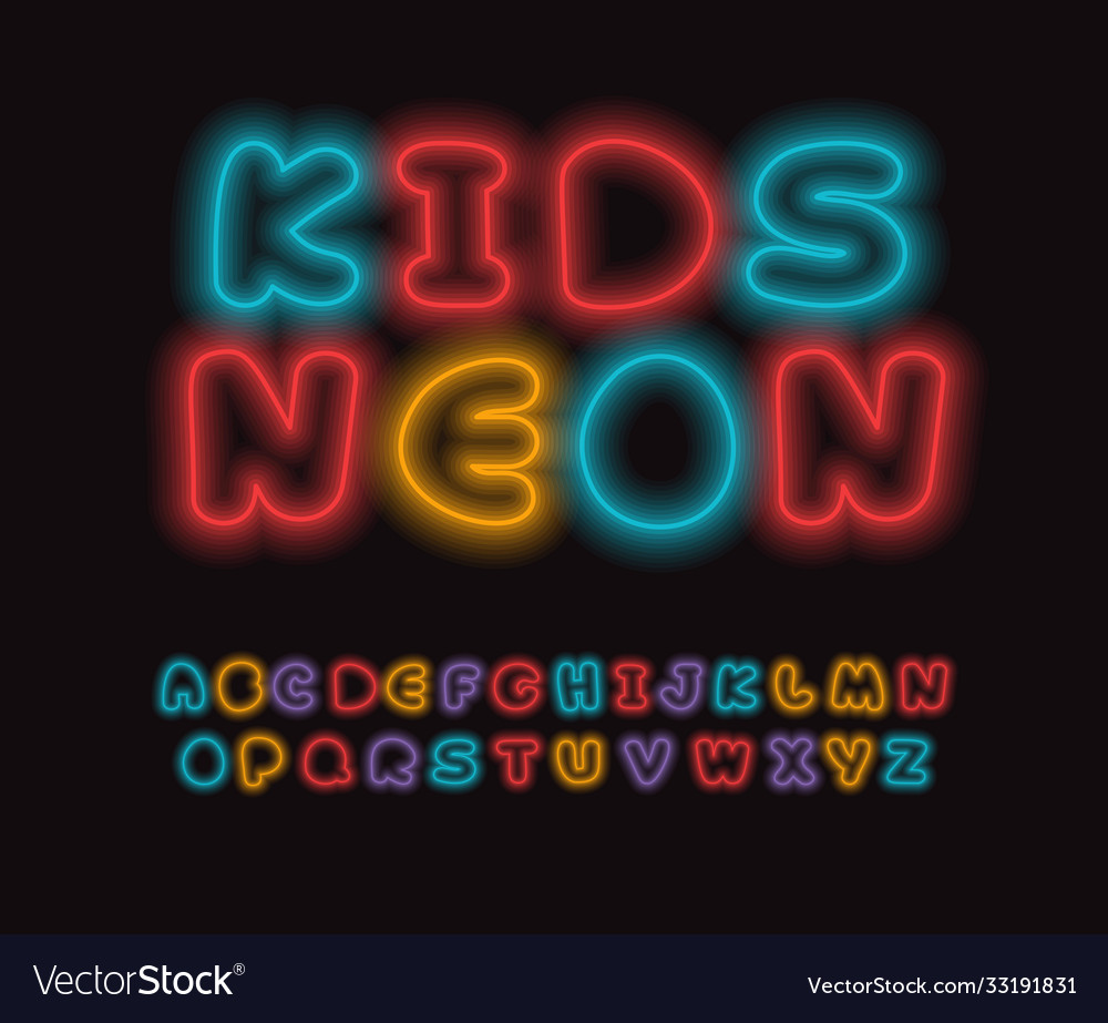 Colored neon font colorful outlines letter