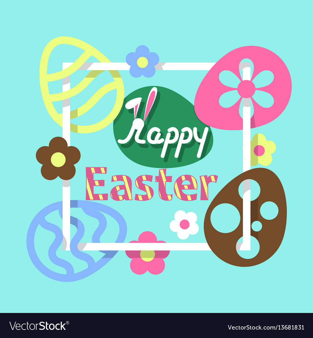 Colorful easter flat background