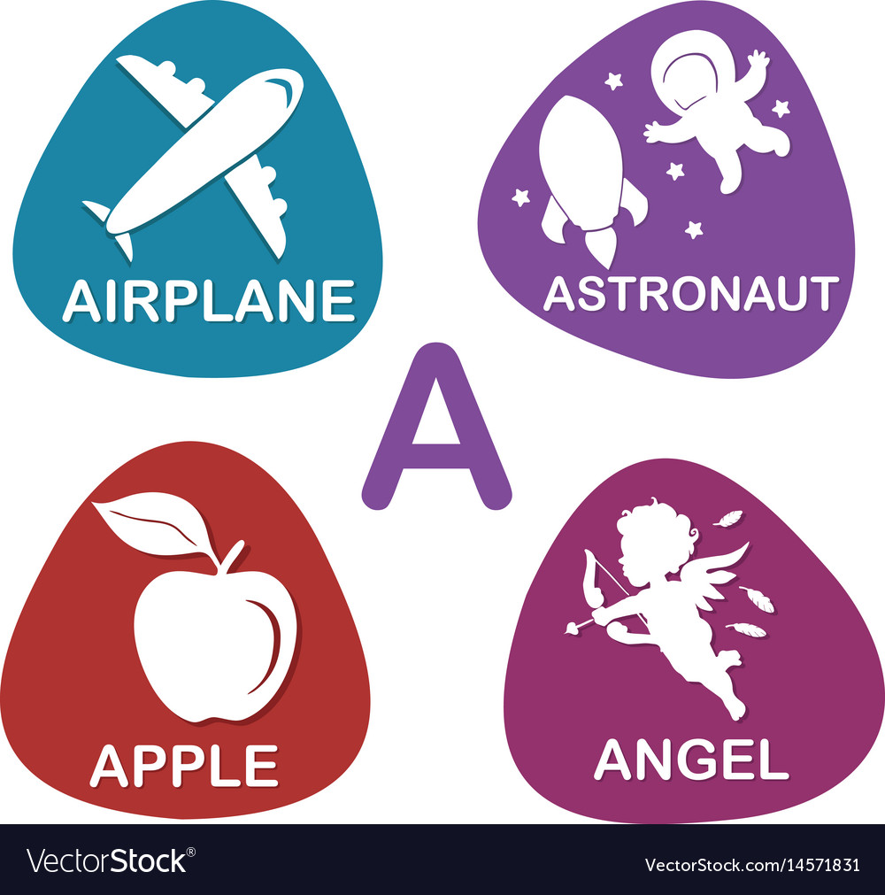 Cute alphabet in a letter for airplane vector image