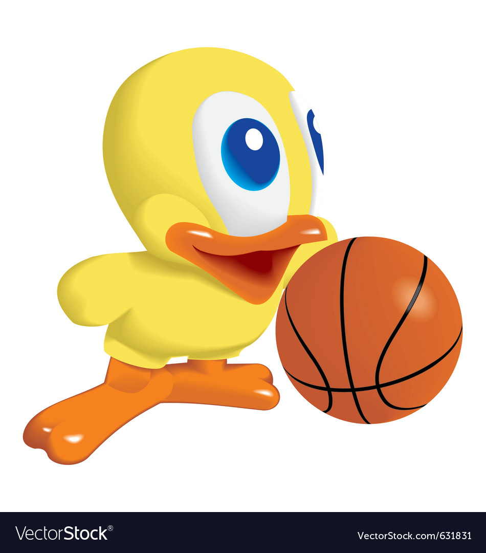 Duck with basketball ball vector image