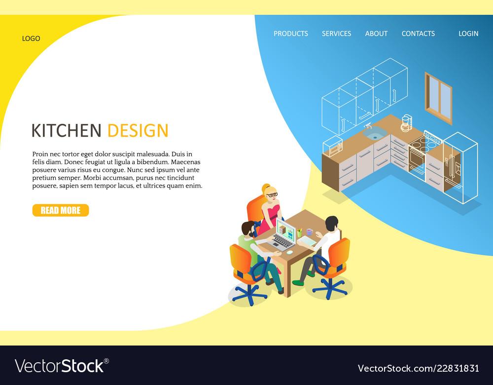Kitchen Design Landing Page Website Royalty Free Vector
