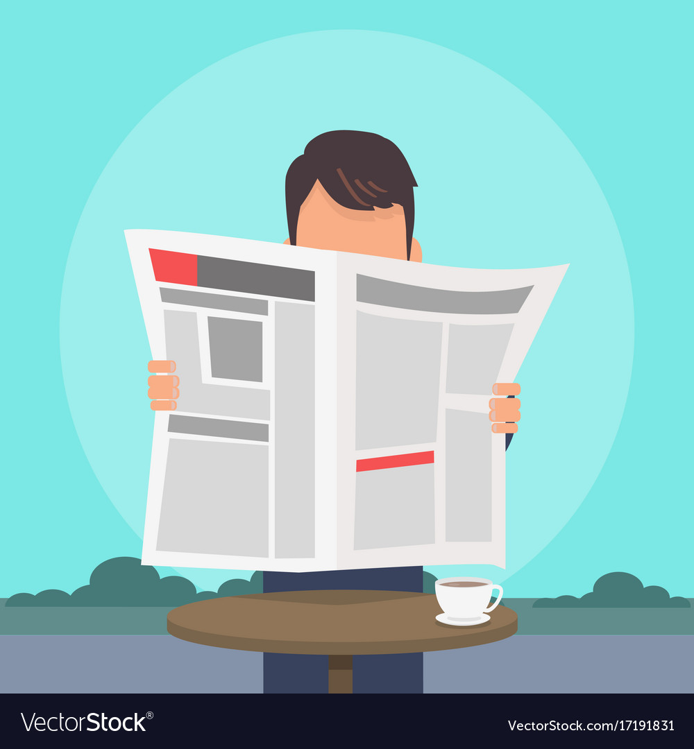Man reading newspaper flat concept