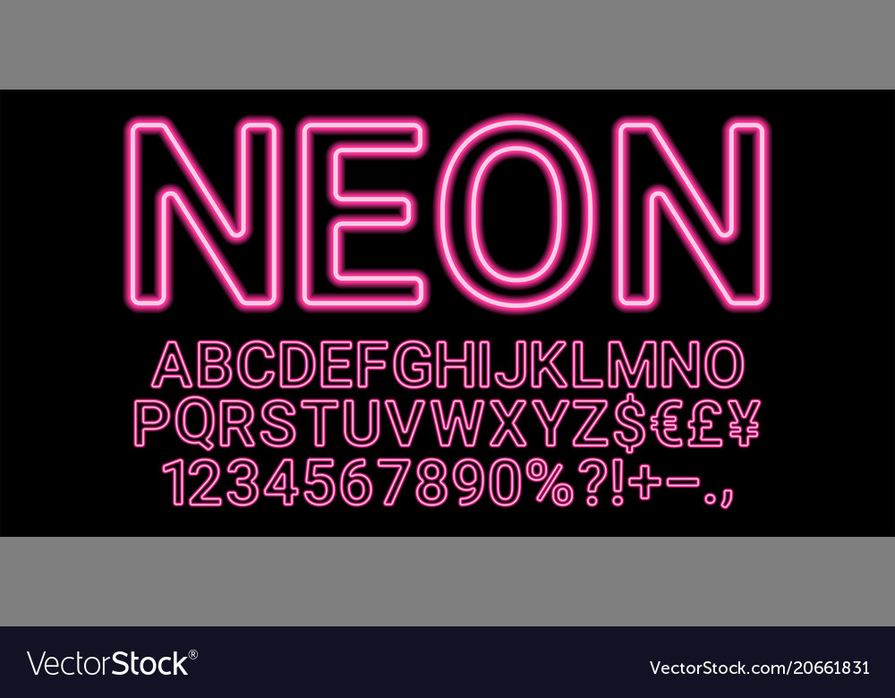 Neon font in pink color