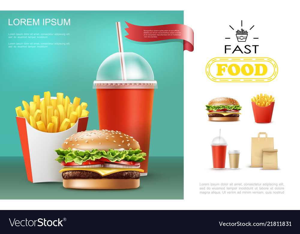 Realistic fast food template