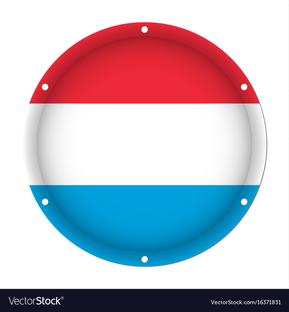 Round metallic flag of luxembourg with screw holes