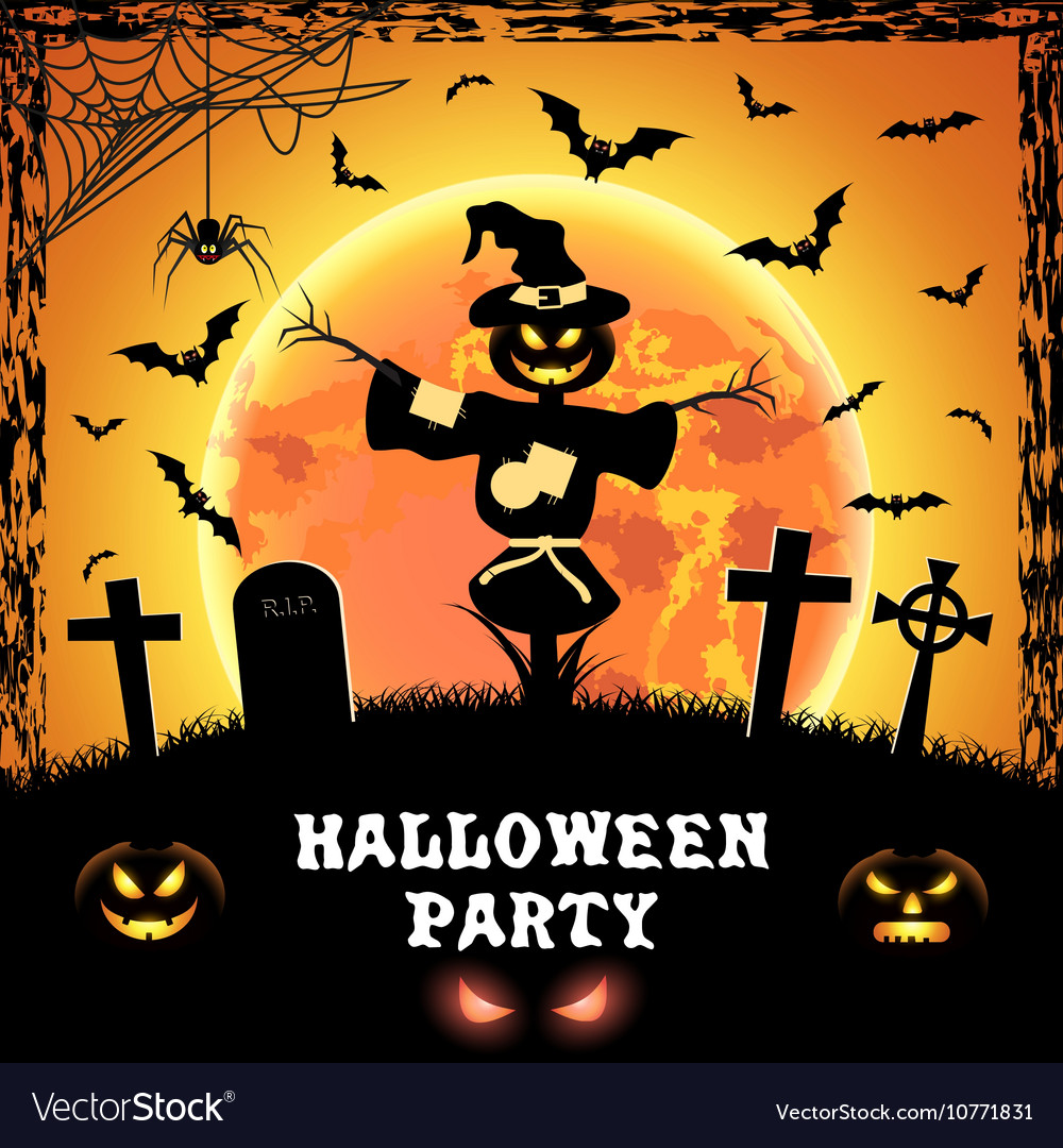 Charming Spooky Card For Halloween Vector Image