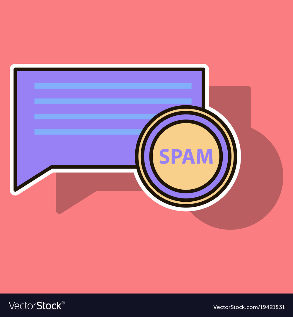 Sticker spam email warning window appear on vector image