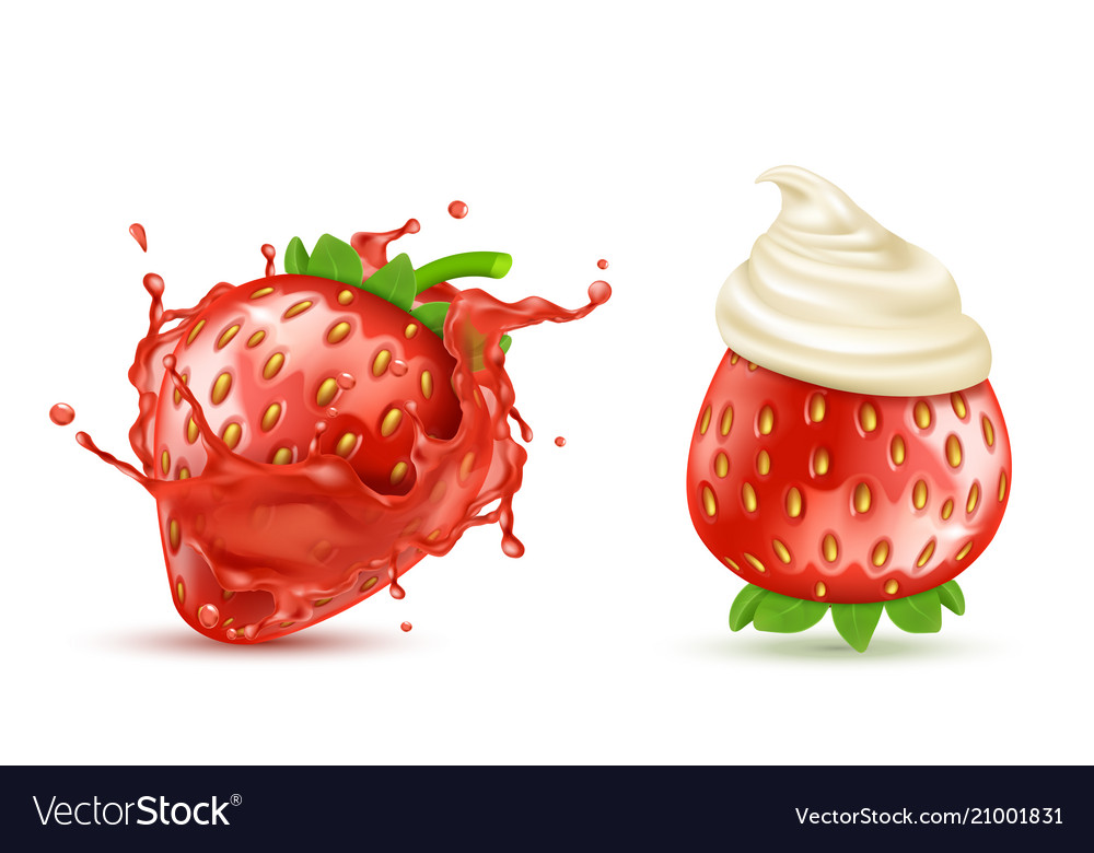 Strawberries with splash and whipped cream