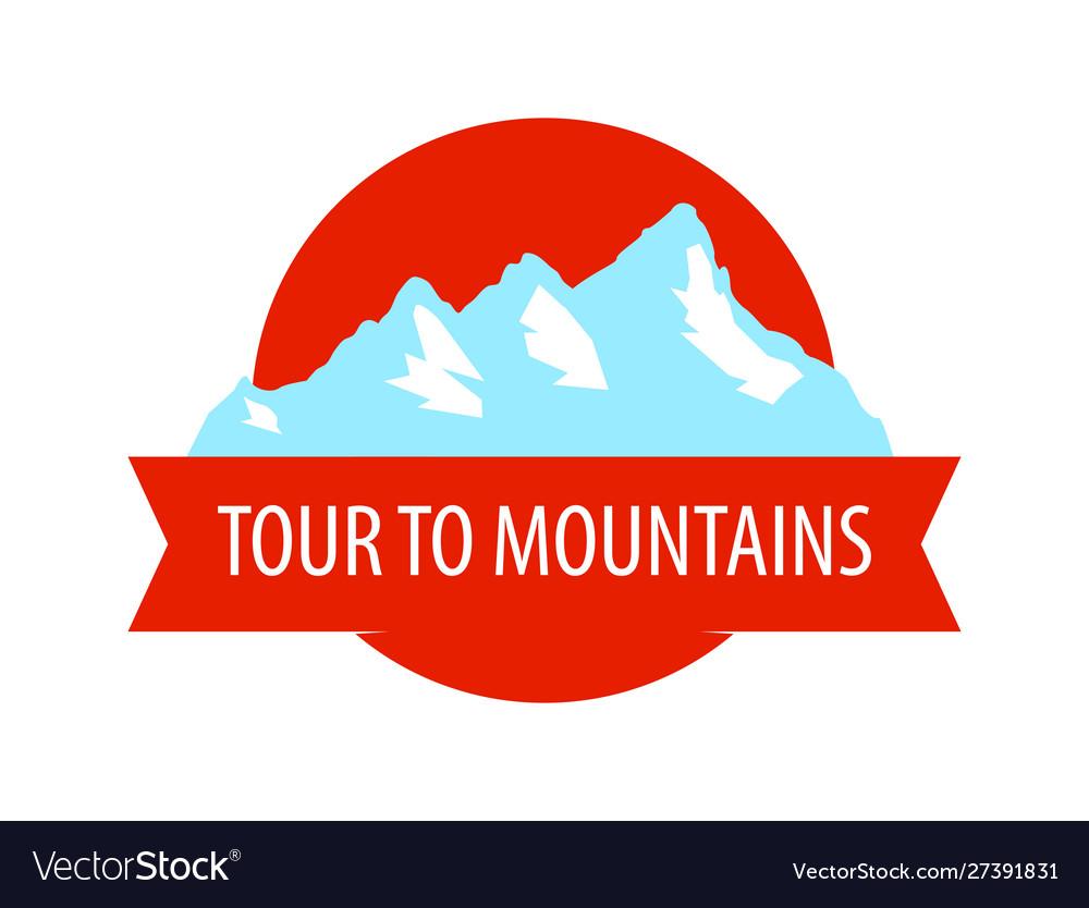 Tour to mountains - coat arm round blazon with