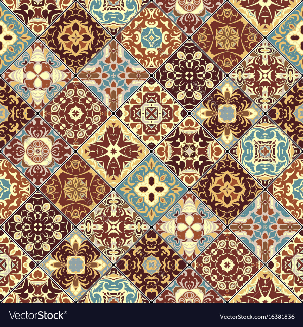 Abstract patterns in the mosaic set Royalty Free Vector