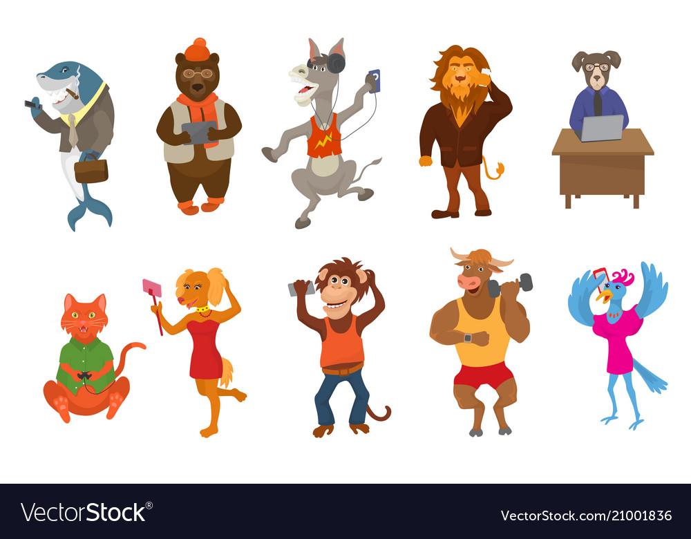 Animals gadget animalistic cartoon