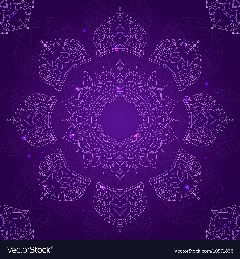 Chakra sahasrara on dark violet background
