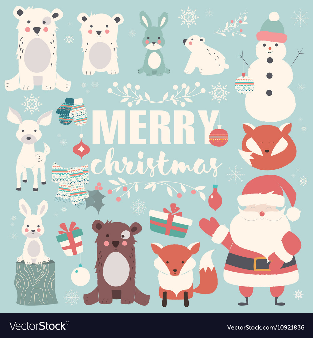 Collection of Christmas animals Santa Claus