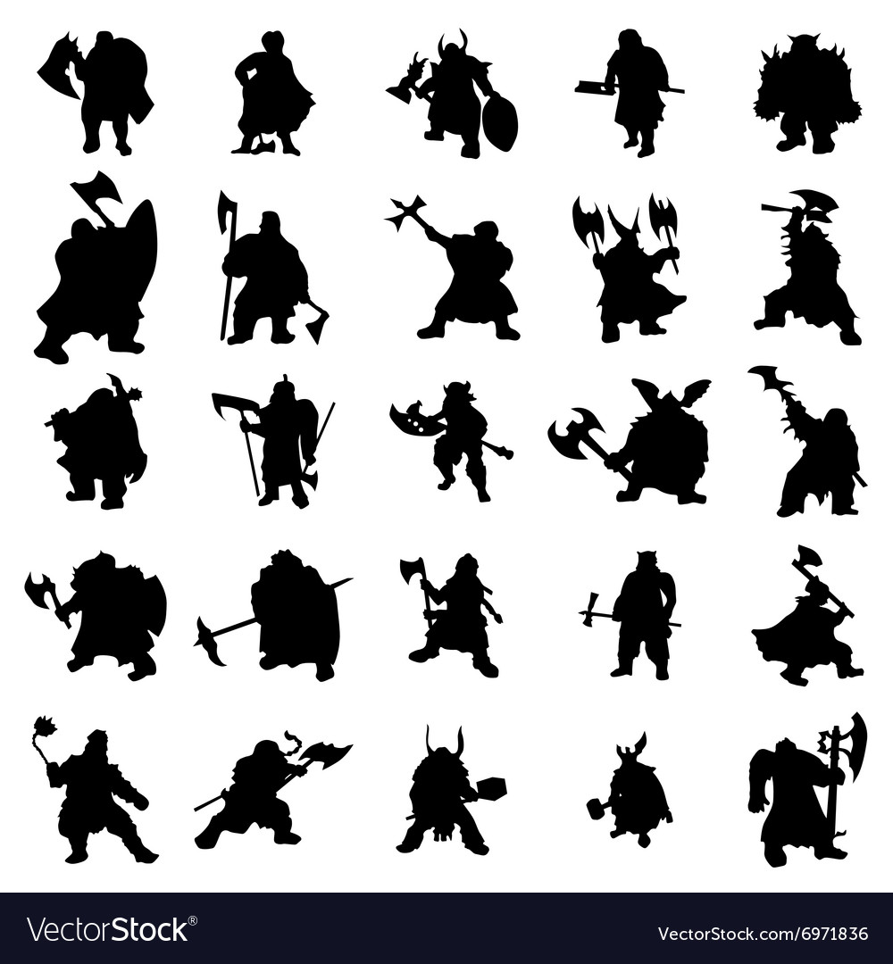 Dwarf silhouettes set