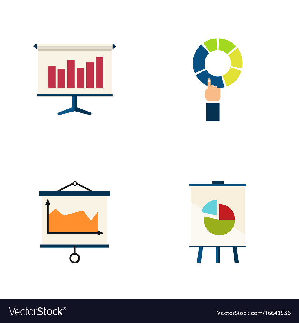 Flat icon chart set of diagram graph easel and