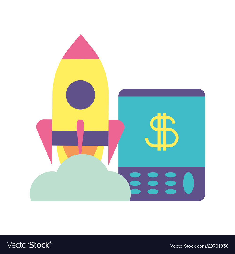 Flying Rocket With Calculator Business Start Up Vector Image
