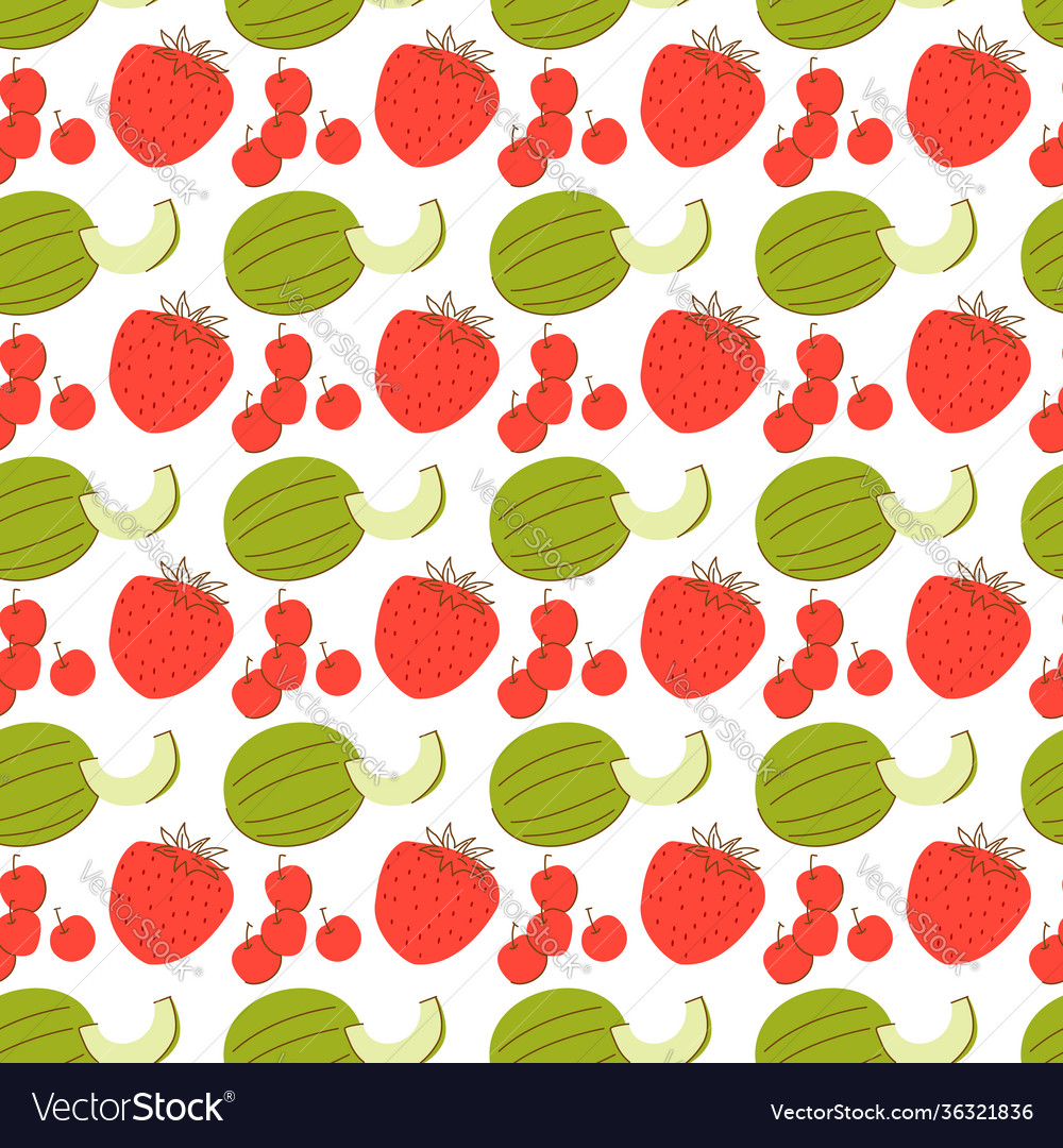 Fruit pattern with coloring melon strawberry
