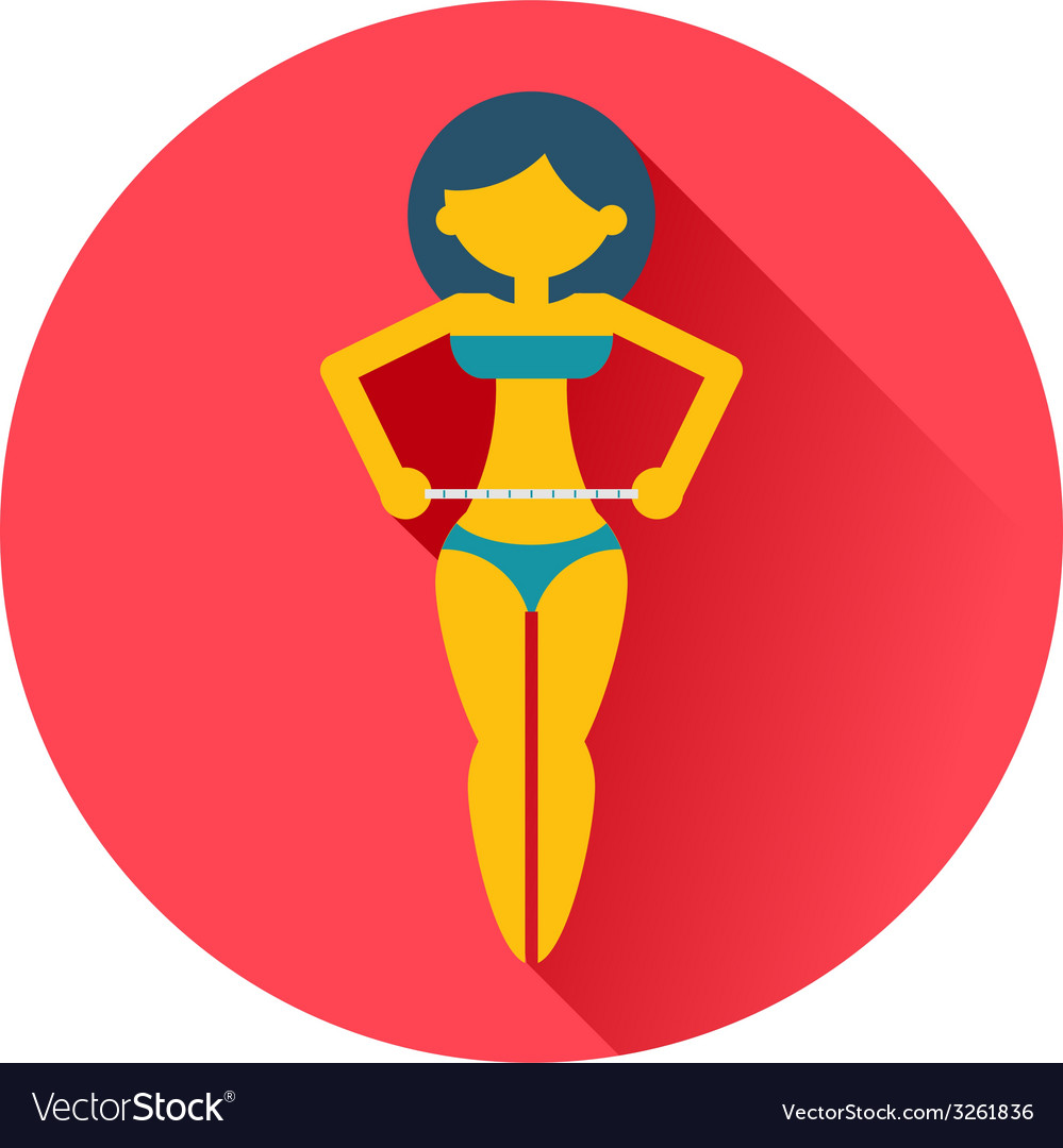Girl measures a waist icon vector image