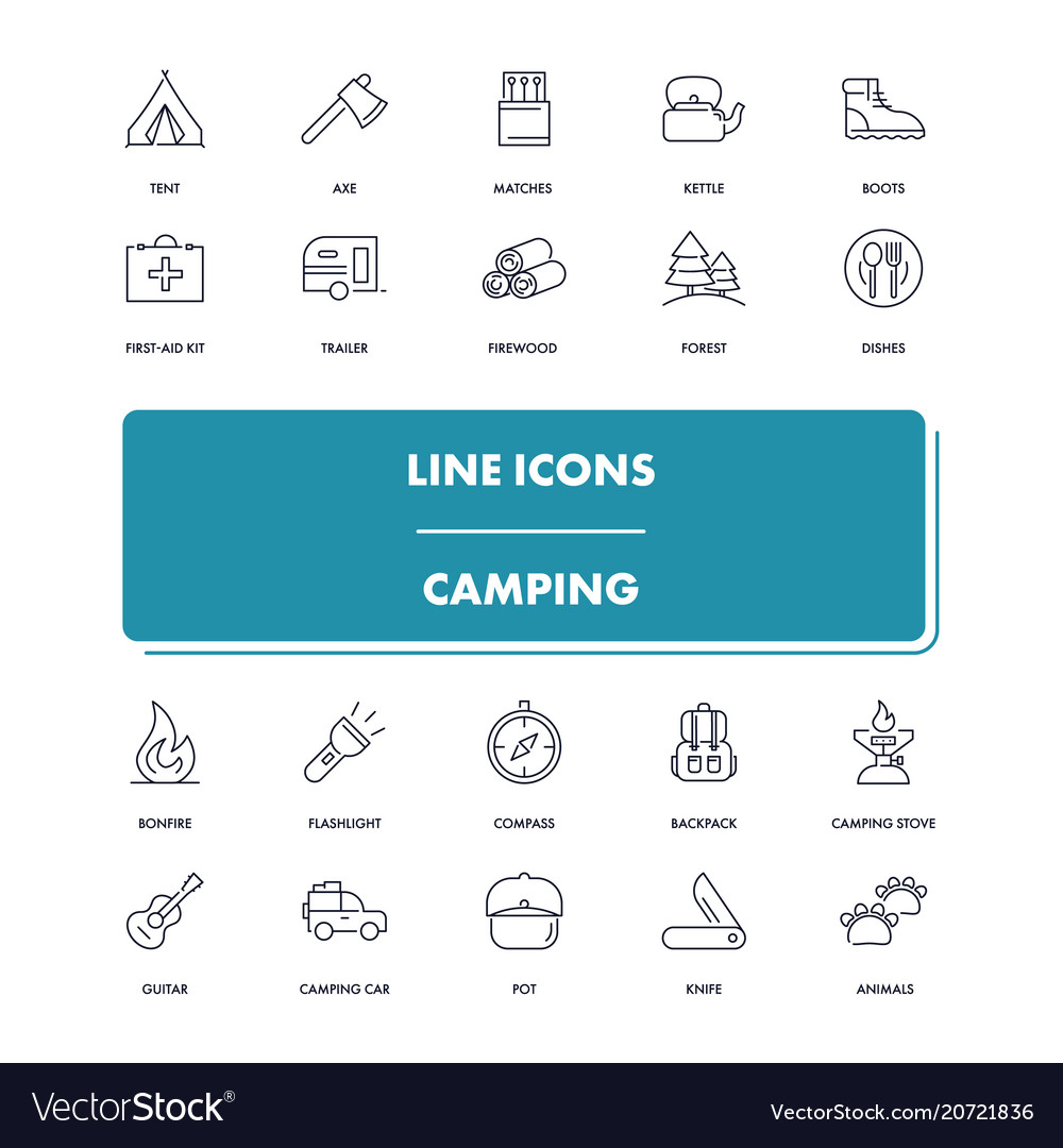 Line icons set camping
