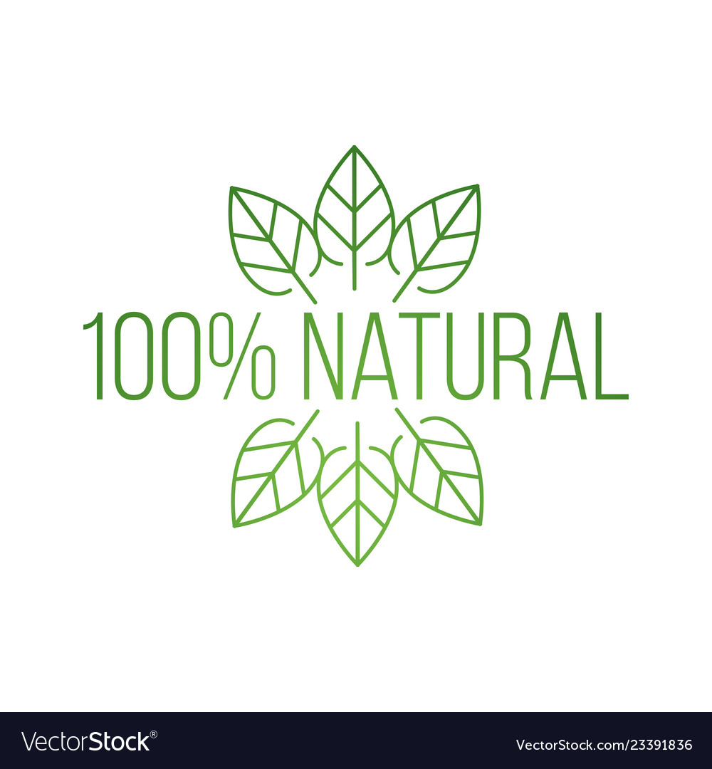 Logo 100 percent natural with leaves natural