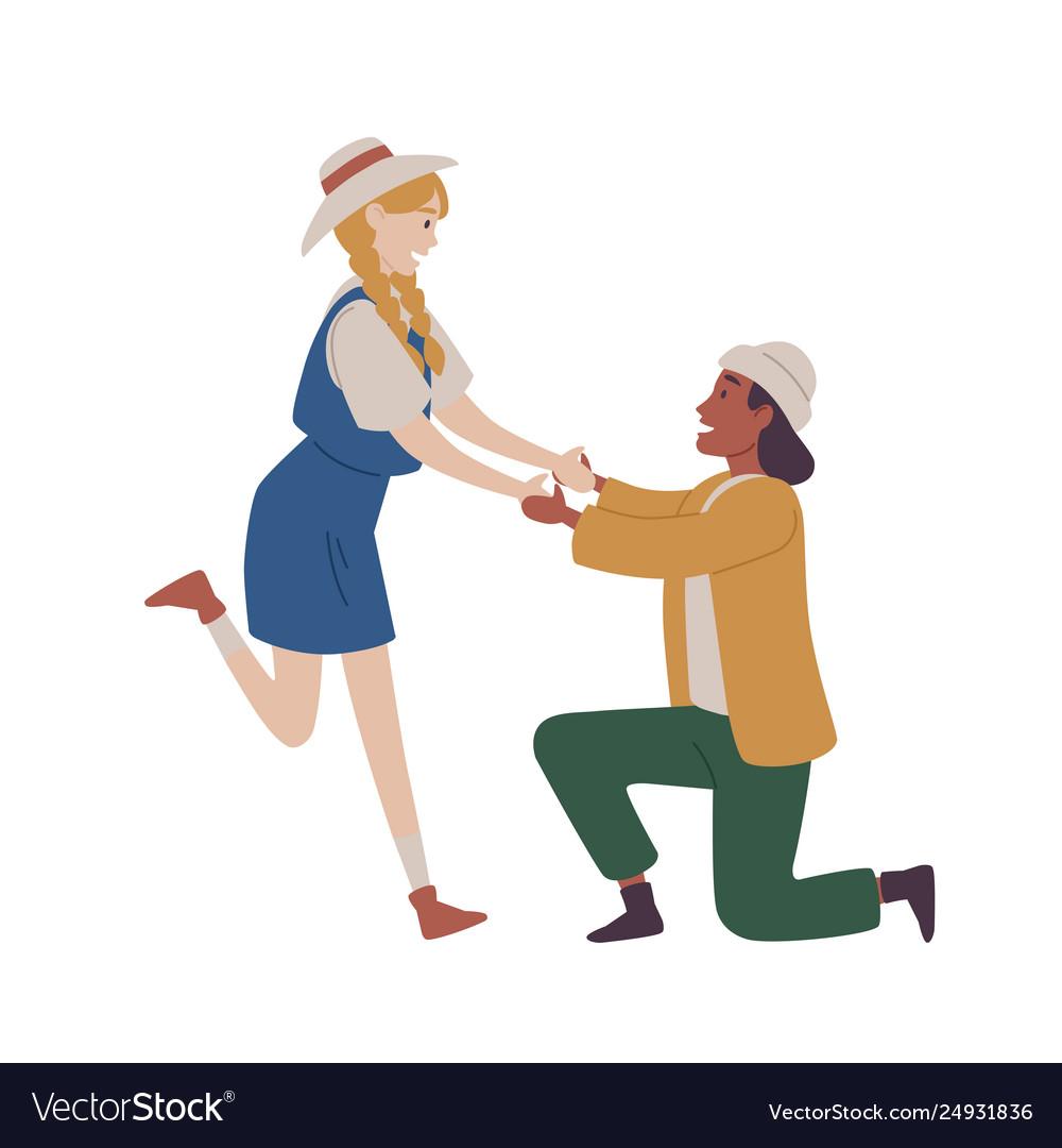 Man kneeling proposing woman marry him marriage